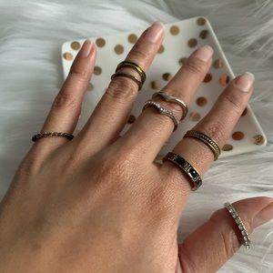 NEW Boho midi ring set in black and gold